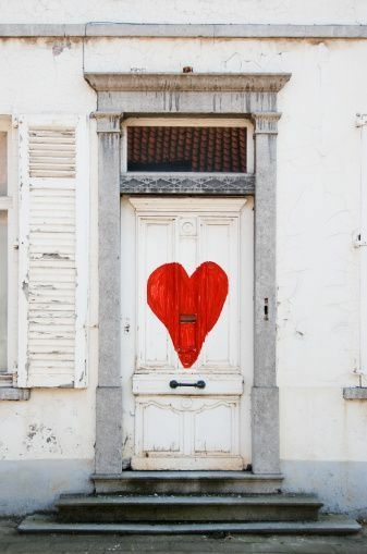 painted heart door
