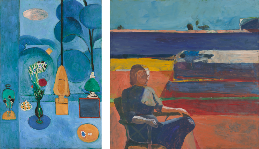 Left: Henri Matisse  The Blue Window,  1913. Right: Richard Diebenkorn  Woman on a Porch, 19587
