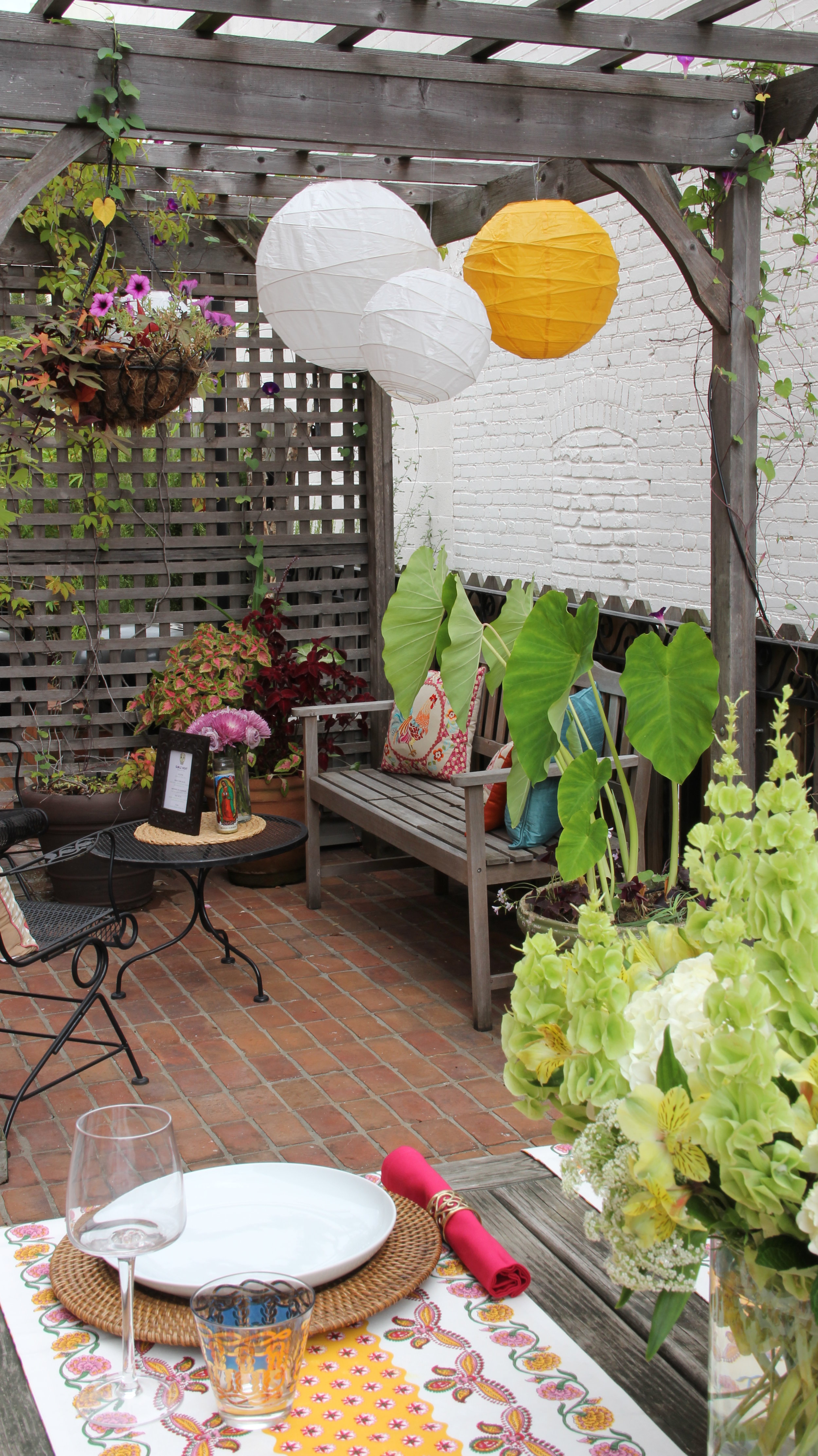 Outdoor terrace bbq deck patio entertaining party hosting mexican latin before after decorating design