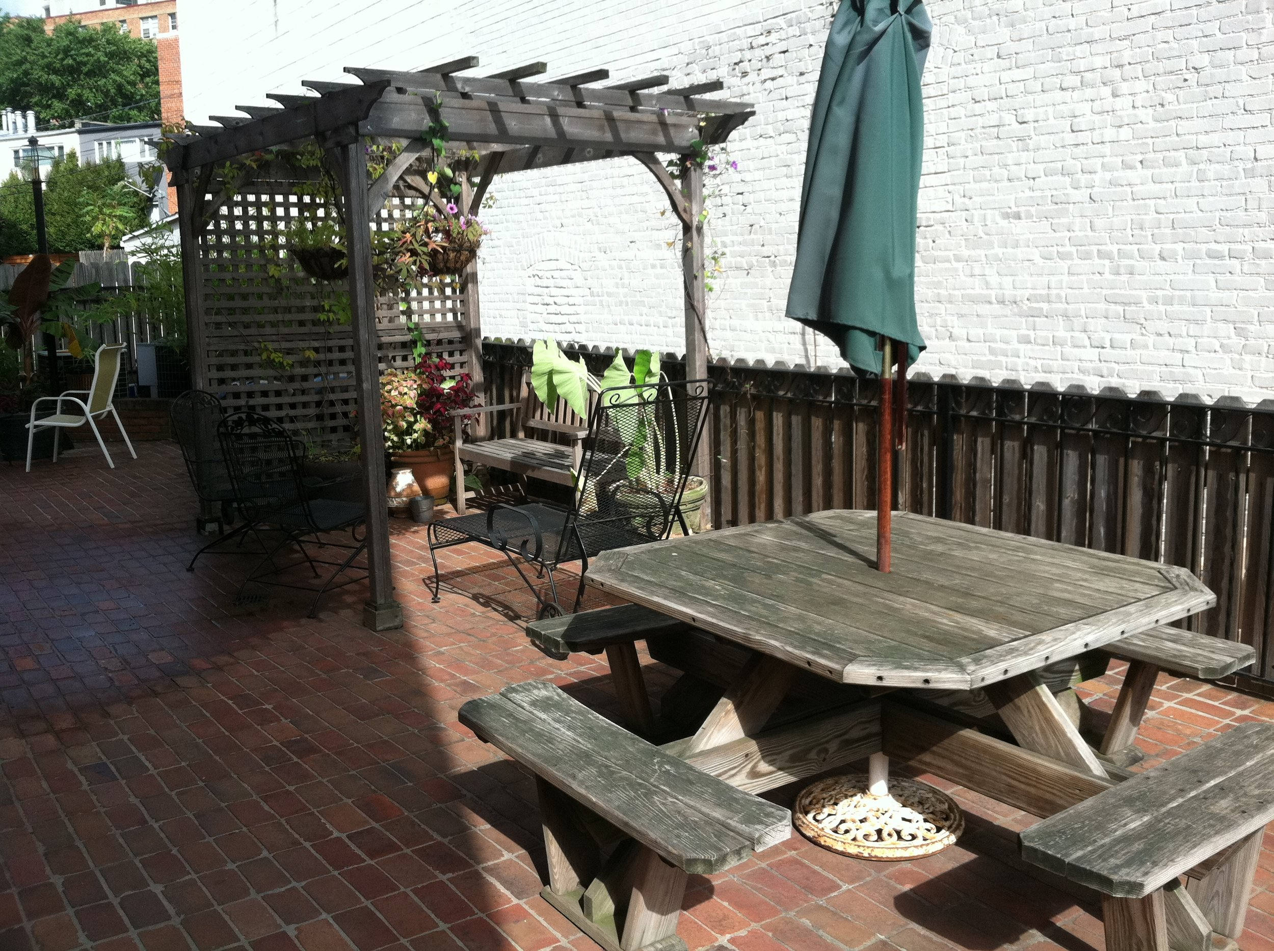 outdoor party terrace hosting before and after gazebo trellis picnic table bbq