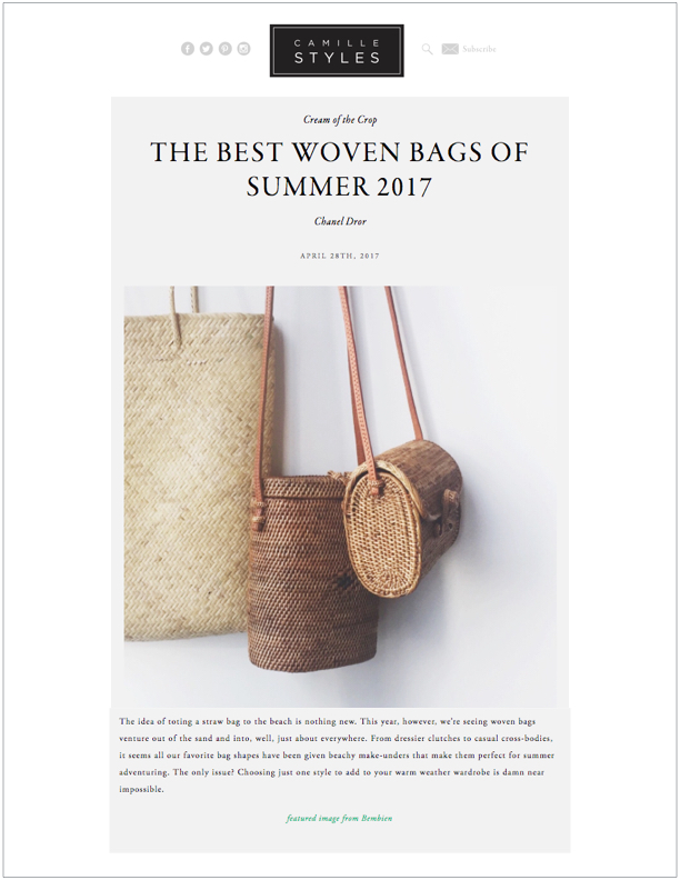 Camille Styles, April 28, 2017 The Best Woven Bags of Summer 2017