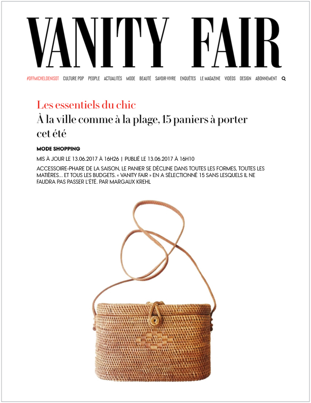 Vanity Fair France , June 13, 2017  15 paniers à porter cet été