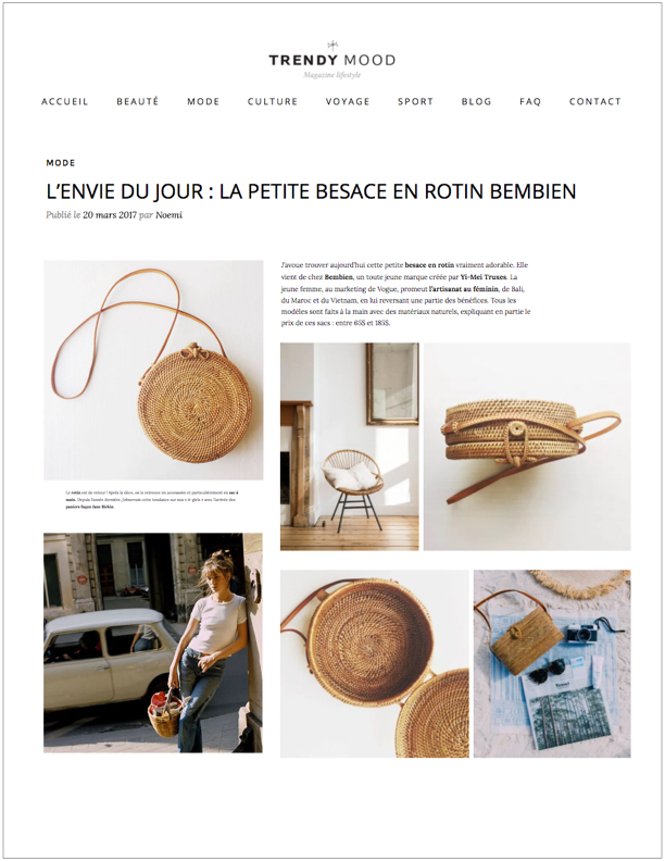 Trendy Mood, March 20, 2017 L'envie du jour: La petite besace en rotin Bembien