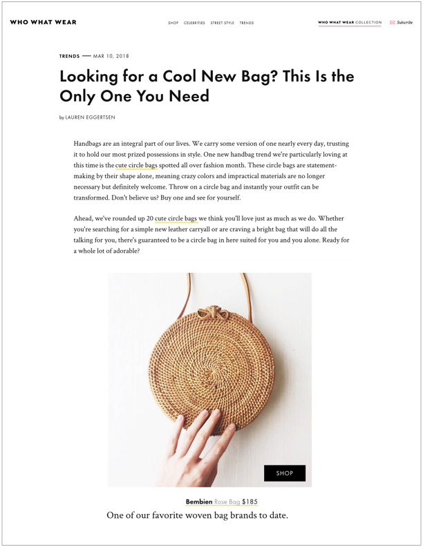 Who What Wear , March 10, 2018  Looking For a Cool New Bag? This Is the Only One You Need