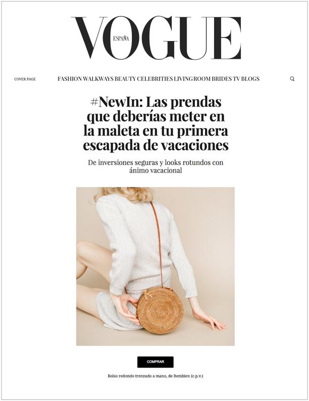 Vogue Spain, June 4, 2018  Las prendas que deberías meter en la maleta en tu primera escapada de vacaciones