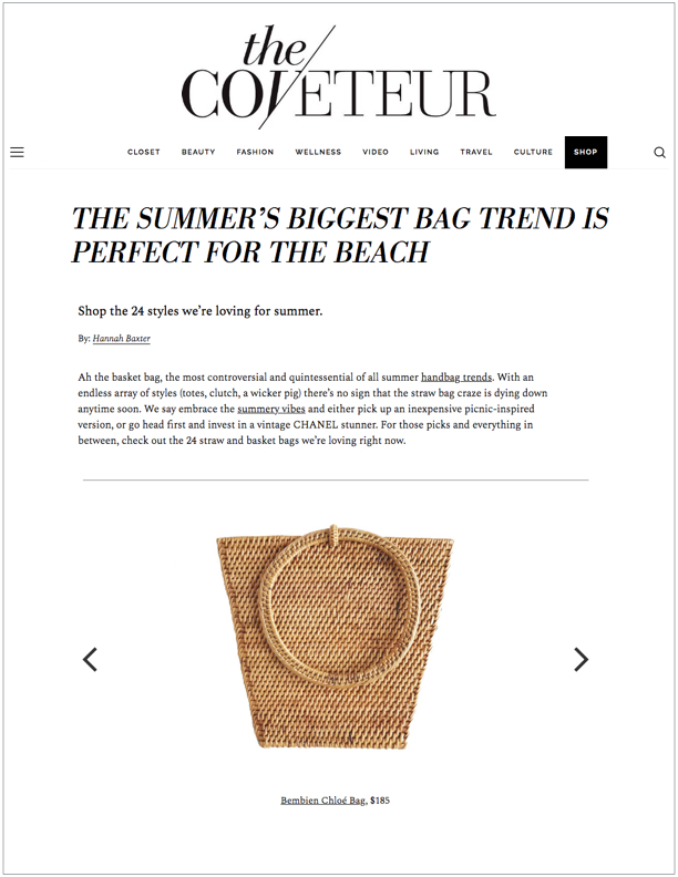 The Coveteur , July 31, 2018  The Summer's Biggest Bag Trend