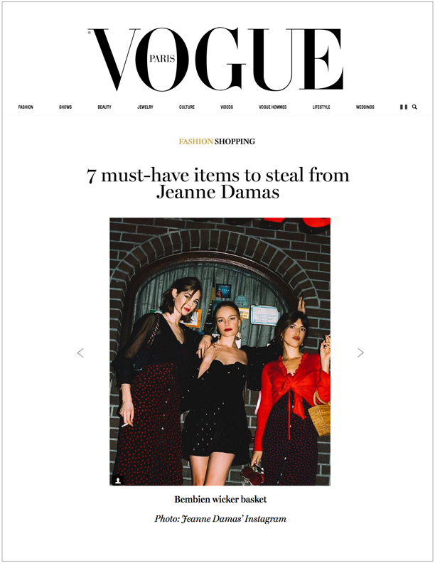 Vogue Paris , August 10, 2018  7 Must Have Items to Steal from Jeanne Damas