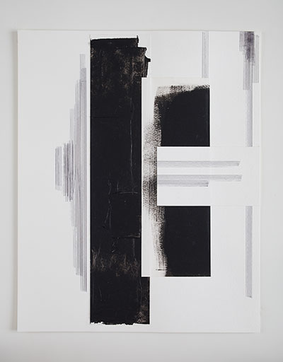 Jennie C. Jones Score for Sustained Blackness Set 2, 2014 Acrylic paint, collage, and music staff ink pen on paper One of ten, each 20 x 16 inches Courtesy of the artist and Sikkema Jones & Co., New York.