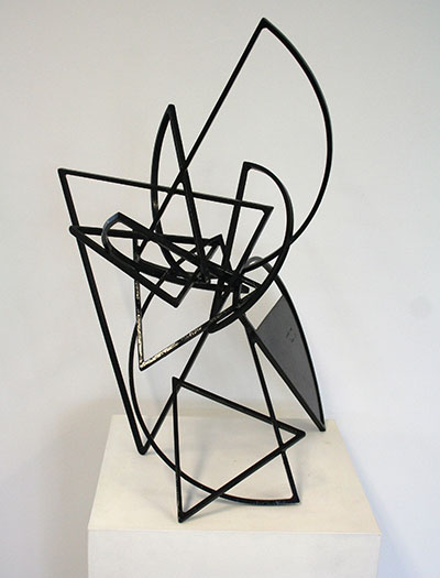 Mac Whitney, Manzano, 2006, black painted steel, 27″ x 15″ x 18″, Gallery Sonja Roesch.