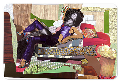 Mickalene Thomas,  Racquel Reclining Wearing Purple Jumpsuit , 2016, rhinestones, glitter, flock, acrylic and oil on wood panel, 96 x 144 inches © Mickalene Thomas.