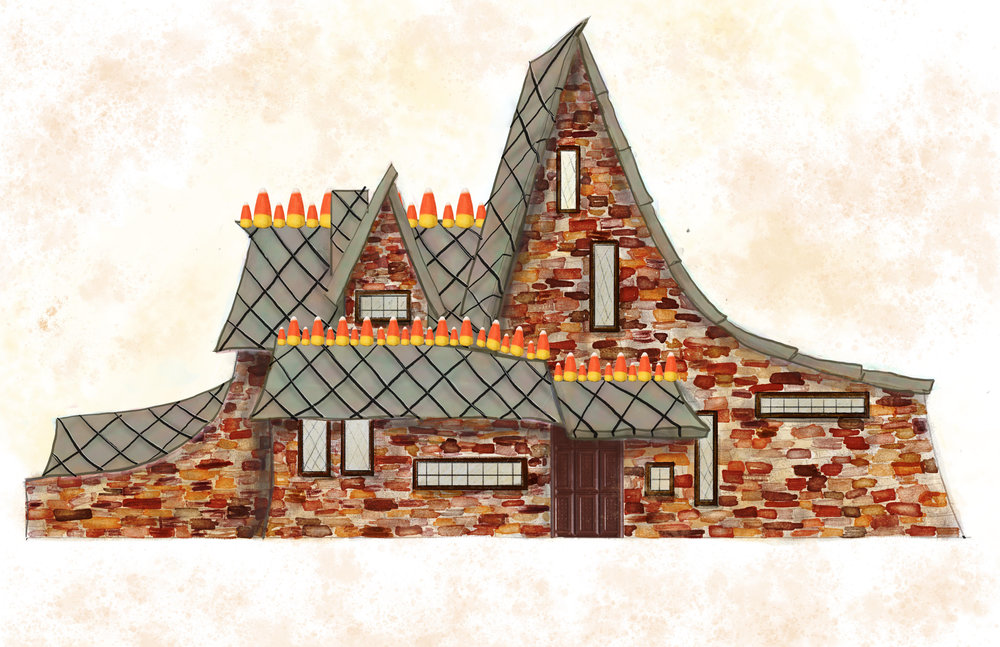Digital rendering of a re-imagined Hansel and Gretel candy house