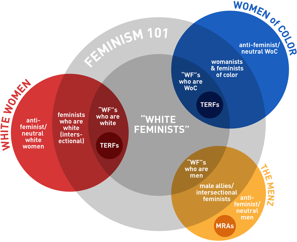 "This diagram does not accurately reflect every single theoretical possibility, and has clear mathematical limitations. It is simply meant to be an easily understandable visual representative tool that clarifies the distinction between ""white women"" and ""white feminists.""   Diagram by Kristen Myers"