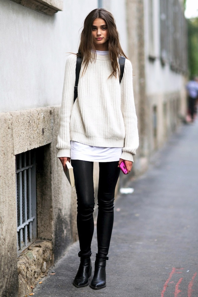 Taylor Hill's oversized sweater with leather leggings and boots is perfect for a chilly Fall day in New York.