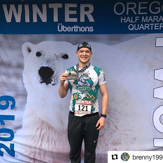 """While most of us are still eating like it's calorie free December, John is out there collecting hardware. Awesome work @brenny1990.  Big things from Team Unicorn Sparkle Adventure this year. Stay tuned! 🦄🦄🦄🎆💥 ・・・ I was finally able to break 1:20 in the half marathon, I ran 1:19:09. It wasn't good enough for the win this year but I'm happy to get 2nd by less then 30"""". . Racing is a good way to see where the fitness is early in the season. Now it's time to build upon it! . . . #racing #uberthons #halfmarathon #triathlon #swimbikerun #running #fitness  #bigsmile #epixgear #polarbear #teamunicornsparkleadventure #bigassmedal"""