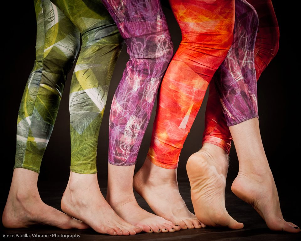 Disperse dyed leggings, patterned and sewn by artist