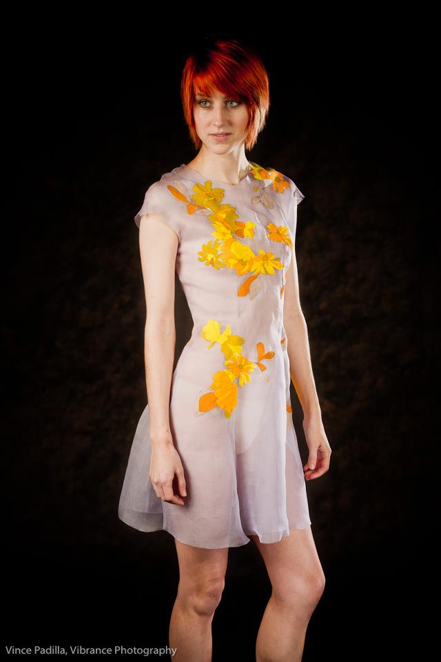 UPcycled Look 2, 2012    Hand dyed silk chiffon, vintage buttons and applique