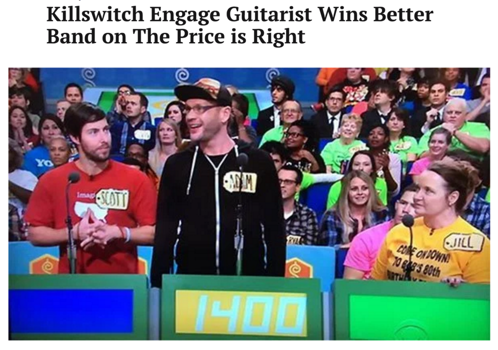 Killswitch Engage Guitarist Wins Better Band on The Price is Right