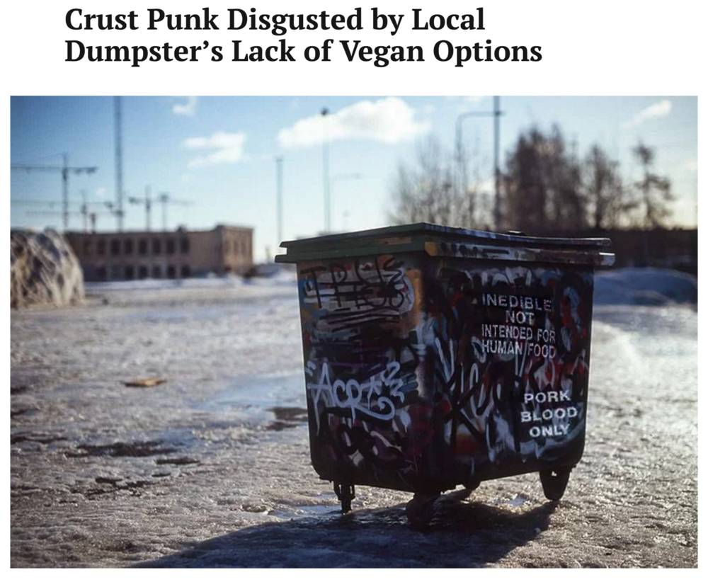 Crust Punk Disgusted by Local Dumpster's Lack of Vegan Options