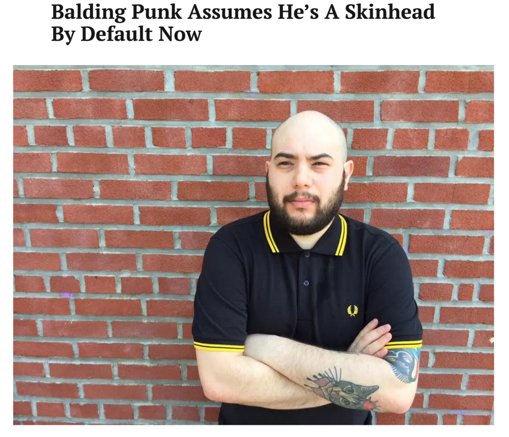 Balding Punk Assumes He's A Skinhead By Default Now
