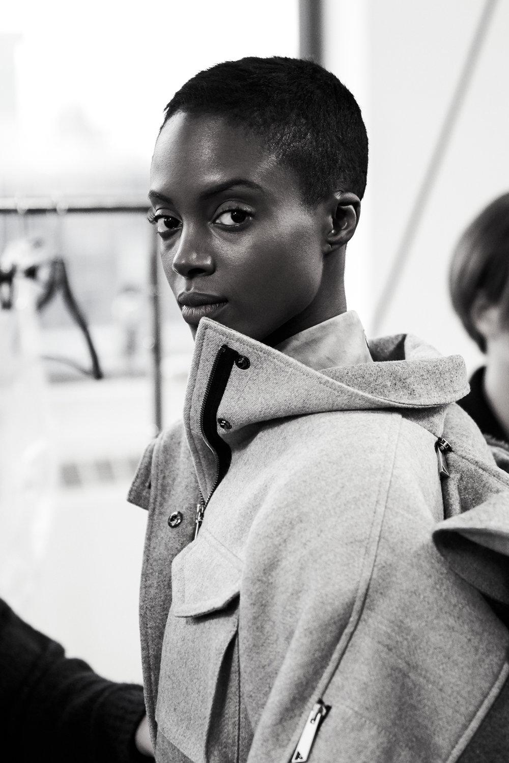 Model Madisin Rian before walking the runway.