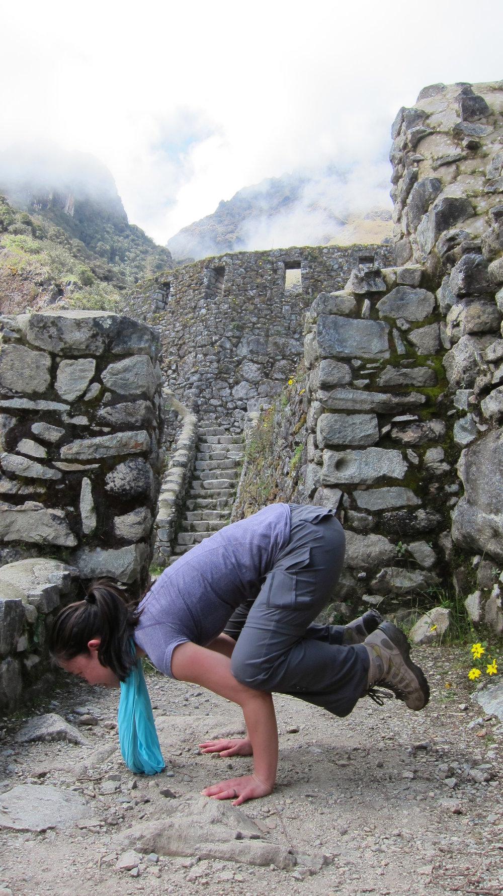 Getting my yoga fix in Peru.