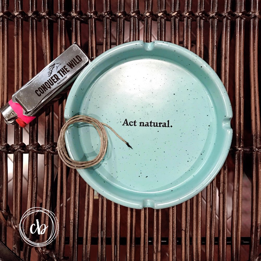 Clean and simple. Clever ash tray, hemp wick, and a lighter with a tooled sleeve at Casually Baked HQ