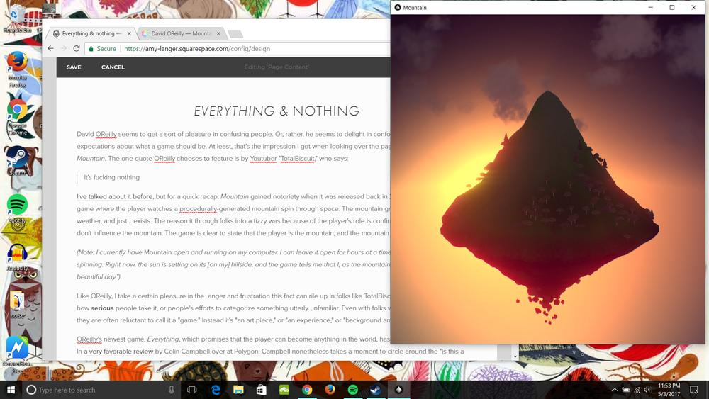 a draft; a mountain; a desktop; an installation