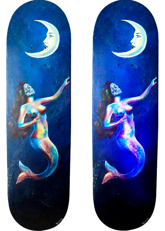 La Sirena - Original and under blacklight