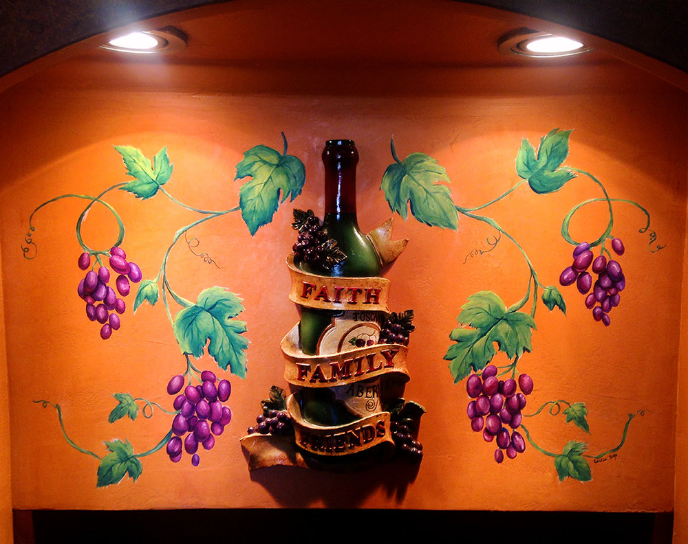 Wine Cellar Grape Vine Mural
