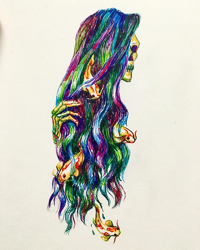 flowing - swimming down stream 🌊 hair is not as fun as it looks, definitely a learning experience . . . #inktober #inktoberATVI #gelpens #flowing #hair #koifish #art #317537