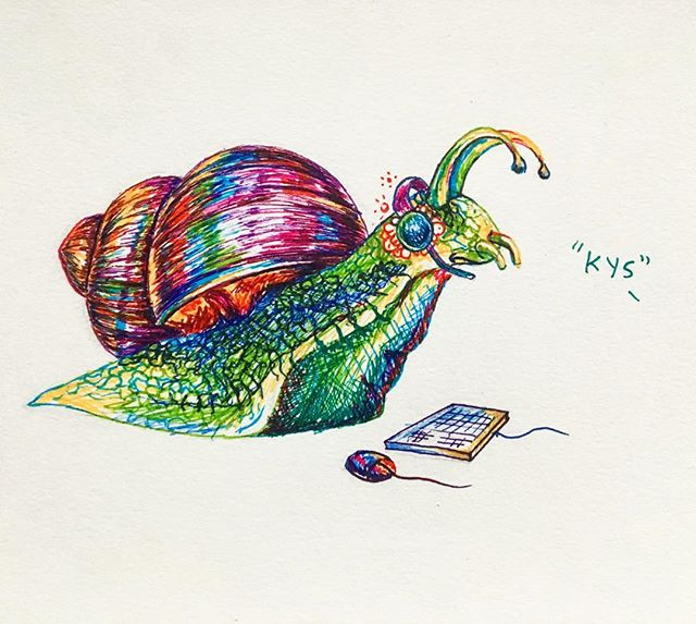 cruel - don't be salty to a snail 🐌 or just don't play league of legends, kids are cruel . . . #inktober #inktoberATVI #cruel #snail #salty #leagueoflegends #kys #gelpens #317537