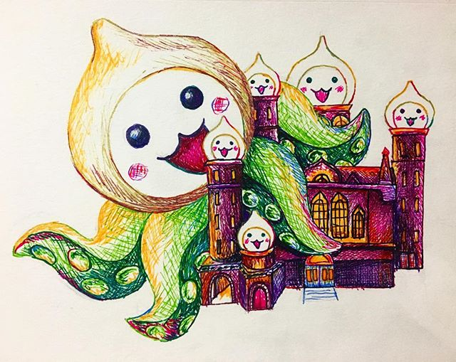 volskaya industries being terrorized by a giant #pachimari ⚡️ my quick lil contribution to #pachimarchi @playoverwatch . . . #overwatch #volskayaindustries #ink #gelpens #art #colorfulart #overwatchart #317537