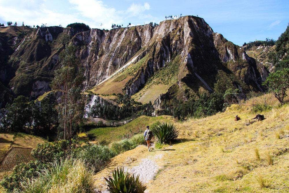 Girl hiking Quilotoa Loop