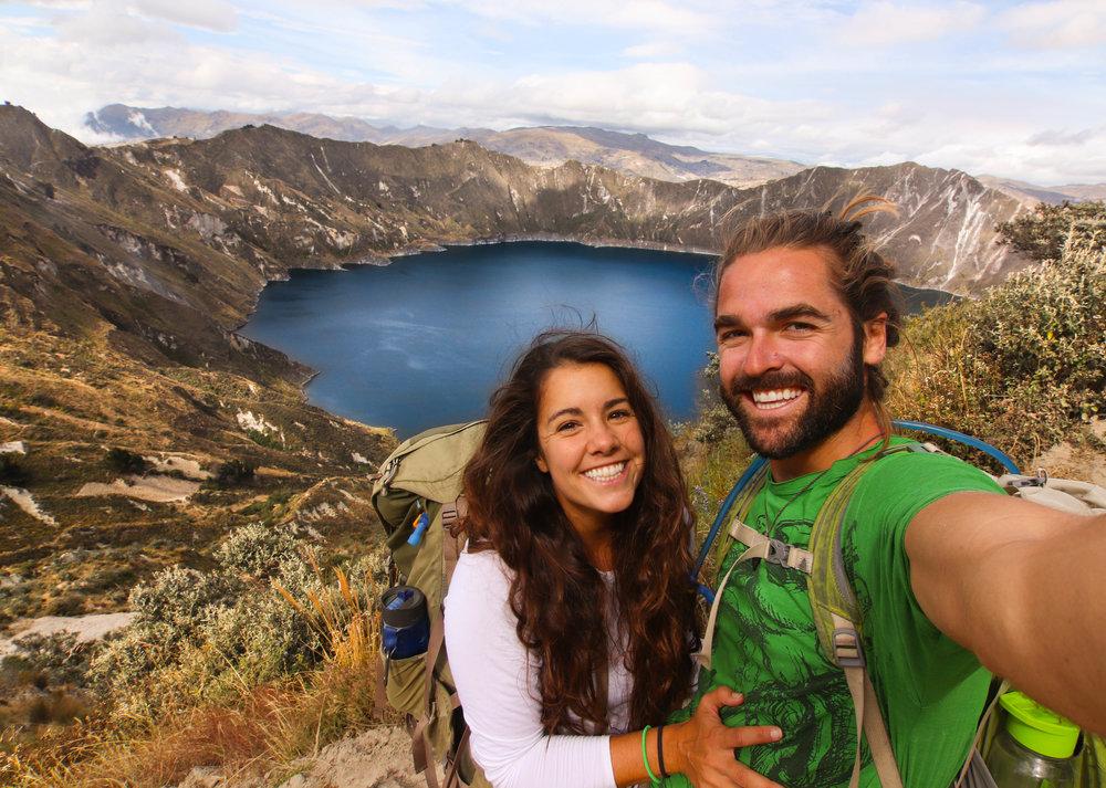 Hiking Couple Quilotoa Loop Ecuador South America