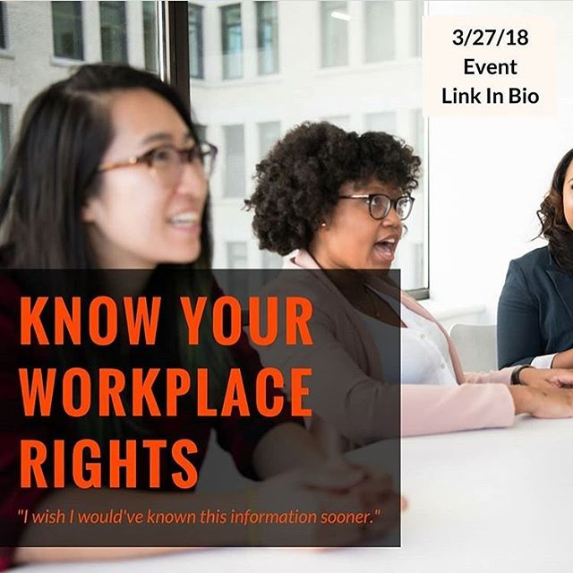 Know your workplace rights event. Almost sold out! Link at @wmnlegal bio. Thanks for sponsoring @wmnlegal @thebravemillennial