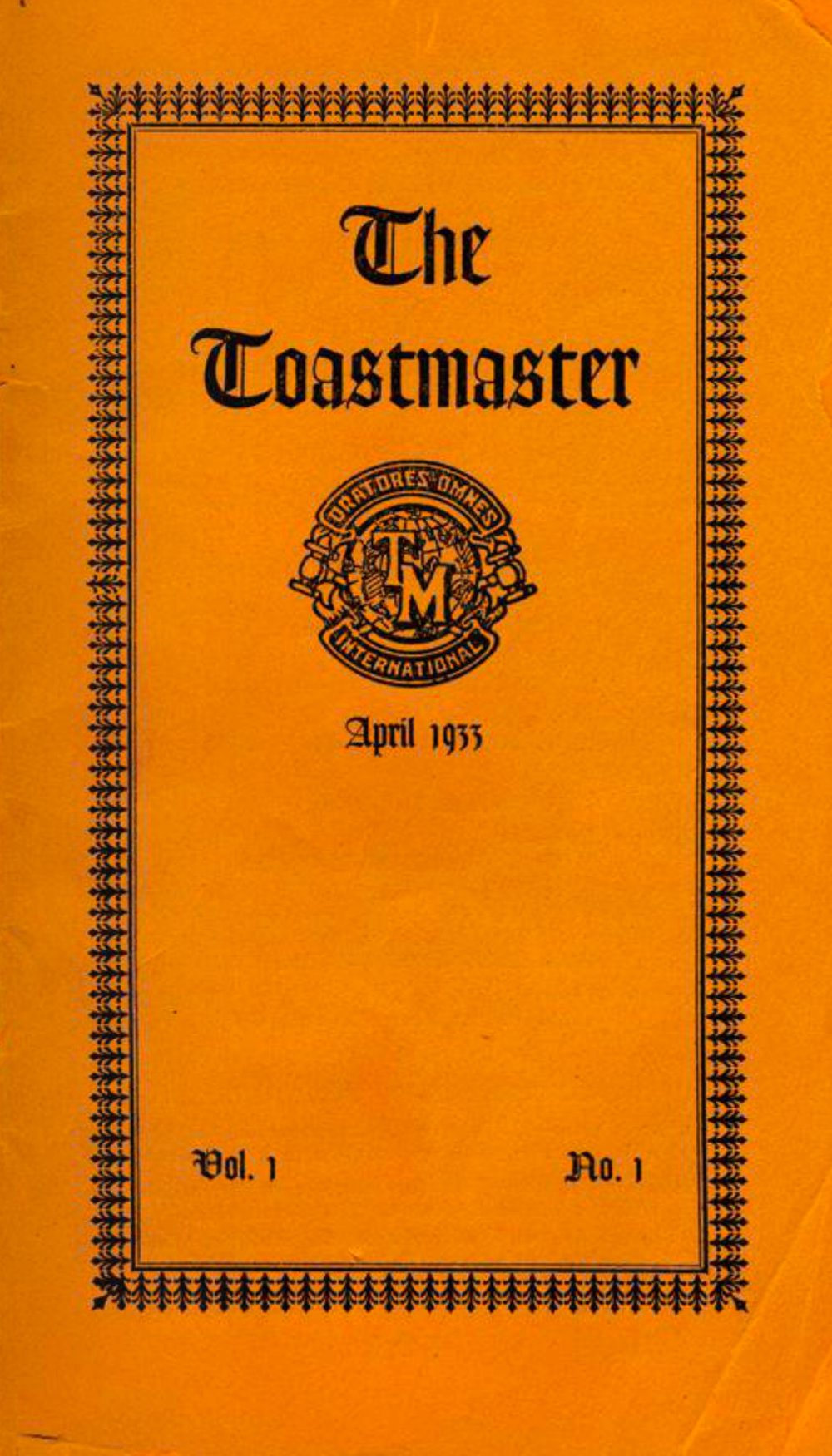 First issue of the Toastmaster magazine, april 1933