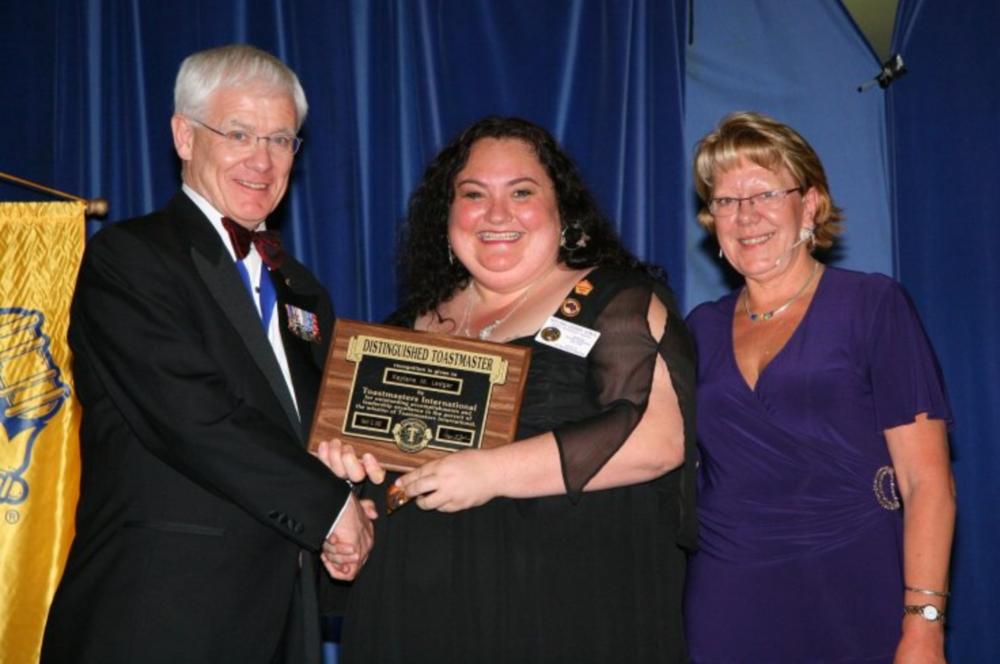 L-R: International President Chris Ford, Kaylene Ledgar & District Governor Sue Haynes
