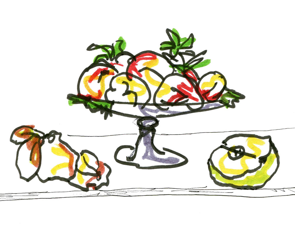 Drawing. Still Life with Fruit