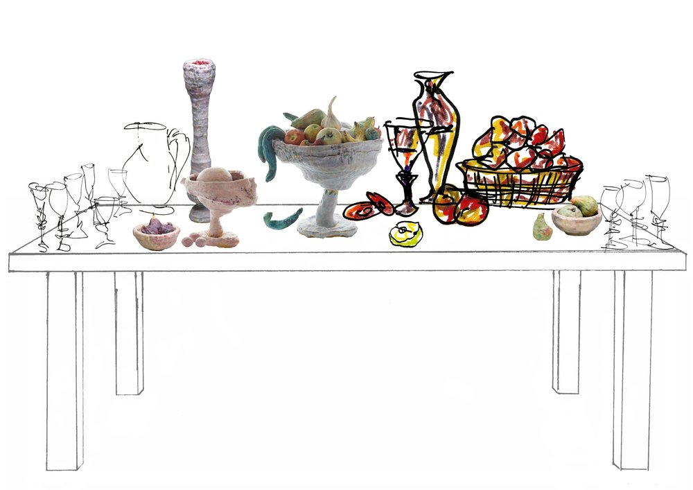 Drawing Montage. Still Life Table