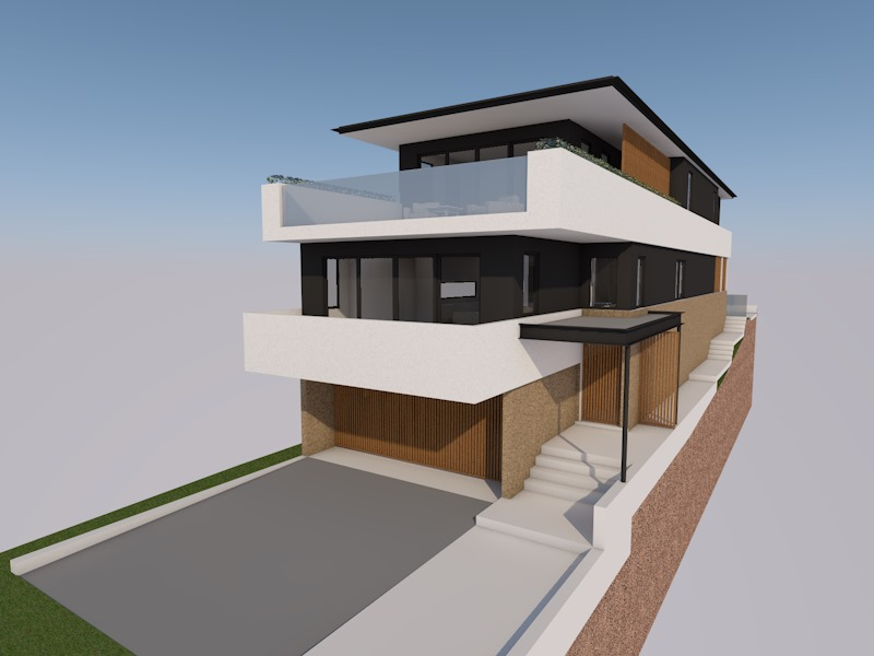 A development application has been lodged with Northern Beaches Council for this new three storey home in North Curl Curl. Accommodating four bedrooms and dual living areas. Located in a flood zone, the innovation design allows for large parking areas with upper levels taking advantage of killer beach and ocean views.