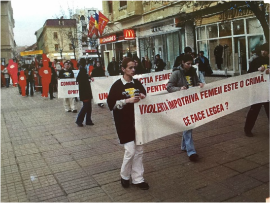APoWeR matching the streets of Timisoara advocating for legislation, 2001