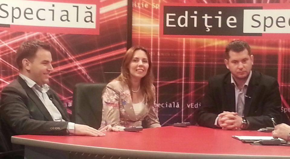 Sile Moldovan, Adela Dinu and Florin Kovacs, 2013 in a TV program on equality and economic opportunity for women in Romania