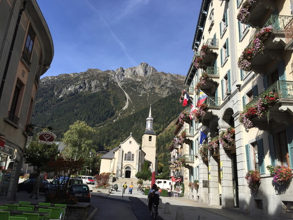 The town of Chamonix, France surrounded by several mountains including Mont Blanc