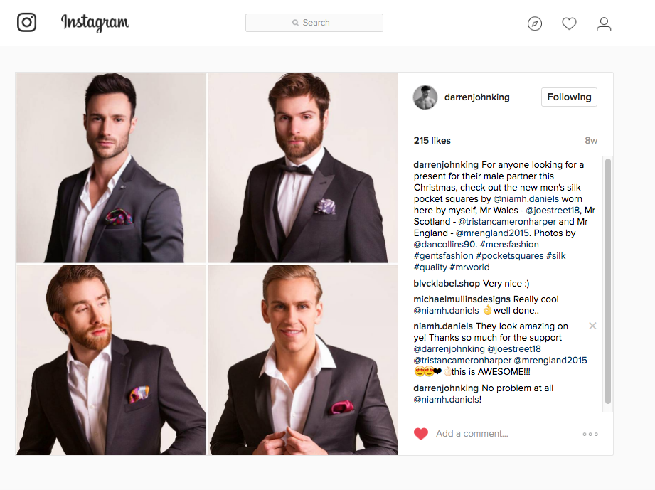 Four of the Premiere Collection silk pocket squares modelled by Mr. Ireland; Darren King and Mr.England, Mr. Scotland and Mr. Wales. December 2016