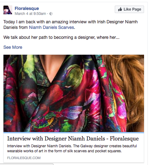 Interview with Amie from Floralesque March 2017 http://floralesque.com/interview-designer-niamh-daniels/