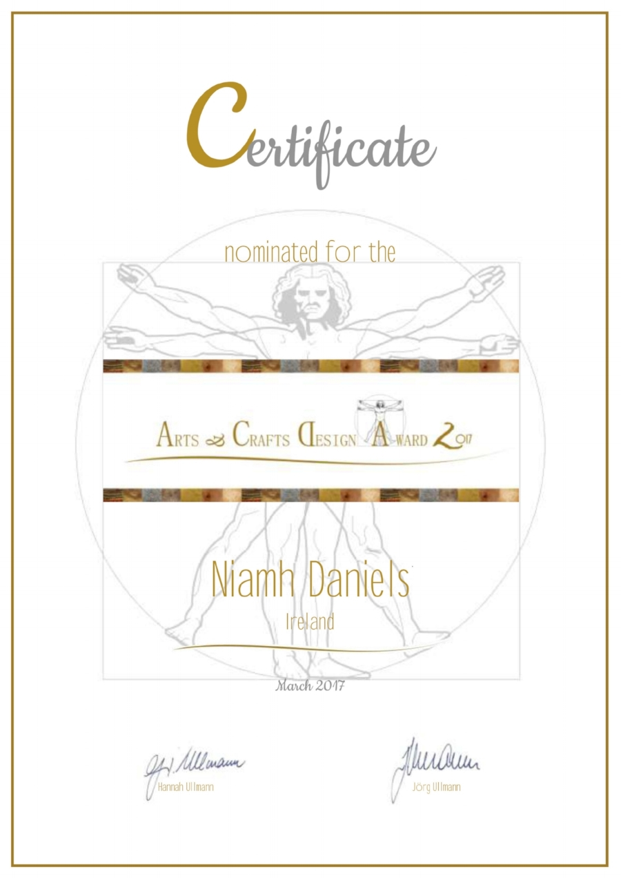 Nominated for the Arts & Crafts Design Awards 2017 - a worldwide competition http://www.acd-award.com/niamh-daniels-2017