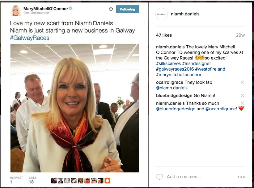 "TD Mary Mitchell O'Connor wearing ""Painterly Sunset"" Scarf at the Galway Races 2016"