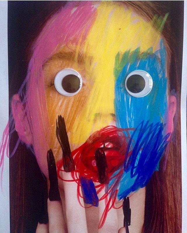 Regram @monstersmodels a educational art project by Claudio Cassano made through painting workshops. Children intervenes on photographs transforming the models into monsters. #monstersmodels #inspiredby #wbde #kidsworkshop #artproject @claudiocassano