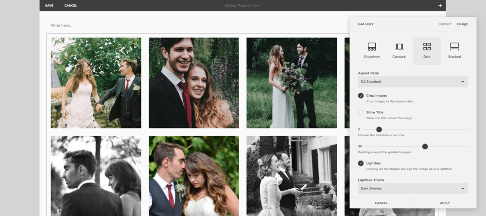 Squarespace for wedding photographers
