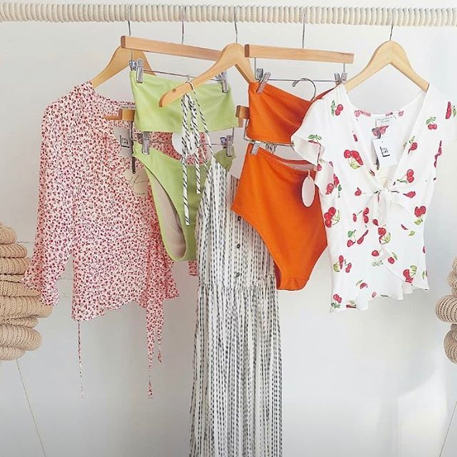 Our lime and rust coloured bikini sets look so cute on @shopcollabco racks! 🌻